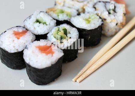 Set of sushi roll on restaurant - Stock Photo