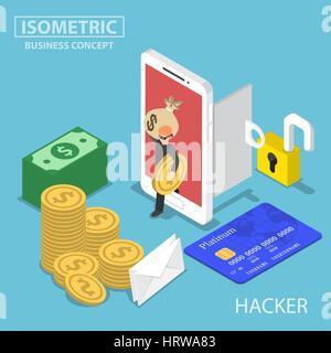Flat 3d isometric thief steal money and data from smartphone, hacker and security concept - Stock Photo