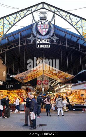 Barcelona, Spain - March 01, 2016: Mercat de Sant Josep, better known as La Boqueria, is popular with locals and - Stock Photo