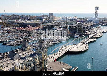 Barcelona, Spain - March 01, 2016: Aerial view of Port Vell and Barceloneta with Rambla del Mar bridge, Darsena - Stock Photo