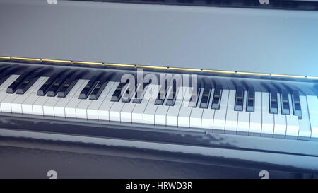 3d rendering of Black and white keys of a piano with a side. - Stock Photo