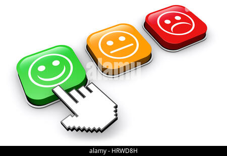 Happy customer feedback concept with hand clicking on positive business quality button 3D illustration. - Stock Photo