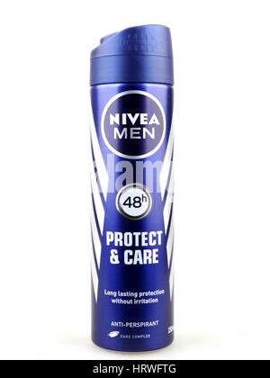 Aytos, Bulgaria - March 04, 2017: Nivea men deodorant isolated on white background. Nivea is a German personal care - Stock Photo
