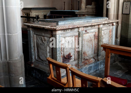 A tomb in St. Peter`s Church, Coughton, Warwickshire, England, UK - Stock Photo