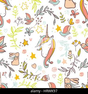 Unicorn Rainbow pattern - girls scrapbook paper. Perfect for wrapping presents, scrapbook pages, cards, party decorations, - Stock Photo