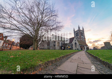 Church in central Farnham, Surrey, UK - Stock Photo