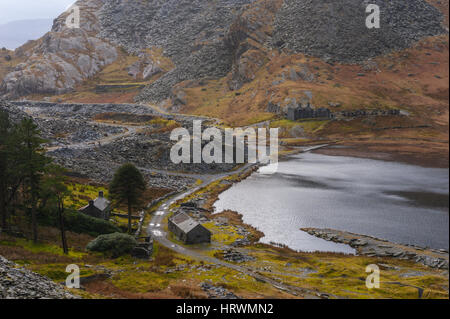 The old slate quarry above, Tanygrisiau and  Blaenau Ffestiniog Wales - Stock Photo