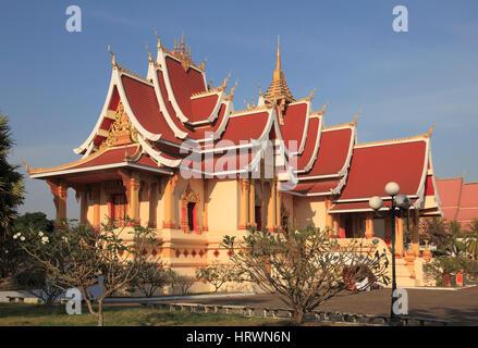 Laos, Vientiane, Pha That Luang, wat, buddhist temple, - Stock Photo