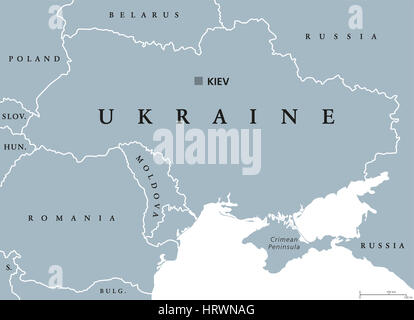 Ukraine political map with capital Kiev, national borders, Crimean Peninsula and neighbor countries. State in Eastern - Stock Photo