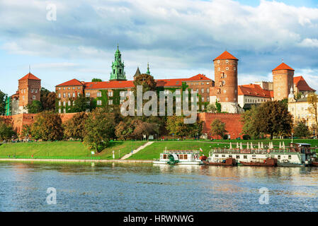 View of Wawel castle and Vistula river - Stock Photo