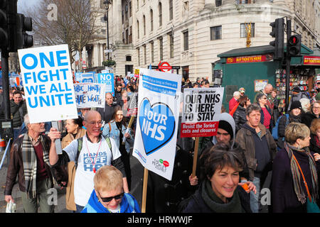 London,UK,4th March 2017.Thousands march through central London in support of the NHS. © Brian Minkoff/Alamy Live - Stock Photo