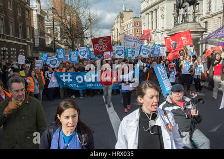 London, UK. 4th March 2017. National #ourNHS demonstration. Marchers rallied at Tavistock Square to march through - Stock Photo
