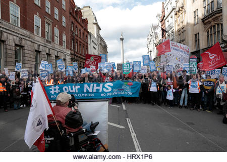 London, UK. 4th March, 2017. The NHS National Demonstration, London, UK. - Stock Photo