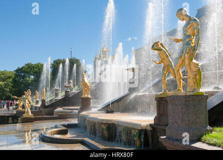 St. Petersburg, RUSSIA-28 of August, 2016. Fountains of the Big cascade in Peterhof. Peterhof-one of suburbs of - Stock Photo