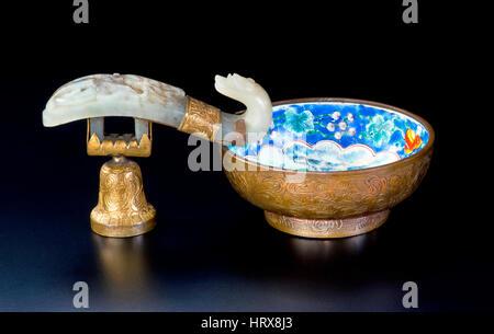 19th Century Chinese white  jade, cloisonne and gold wash brush washer. - Stock Photo