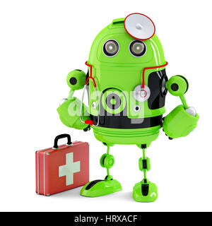 Green Medic Robot. Technology concept. Isolated over white. Contains clipping path - Stock Photo