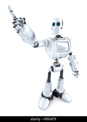 Robot pointing on something. Isolated over white. Contains clipping path - Stock Photo