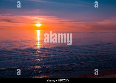 Sunset over the ocean, South Australia - Stock Photo