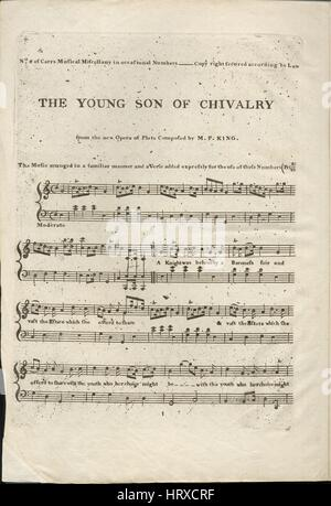 Sheet music cover image of the song 'The Young Son of Chivalry', with original authorship notes reading 'from the - Stock Photo