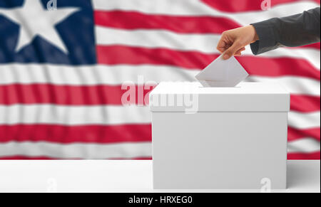 Voter on an waiving Liberia flag background. 3d illustration - Stock Photo
