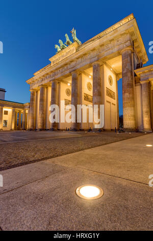 The famous Brandenburger Tor in Berlin at night - Stock Photo