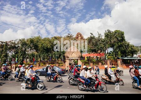 Nha Trang, VIETNAM - CIRCA February 2015 - vietnamese traffic on lunar New Year festival in Pagoda Po Nagar in Nha - Stock Photo