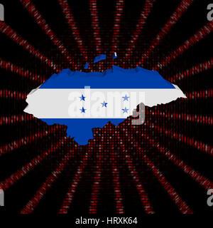 Honduras map flag on red hex code burst illustration - Stock Photo
