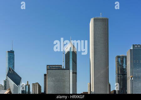 Chicago, USA - May 30, 2016: Cityscape with skyscrapers such as Prudential - Stock Photo
