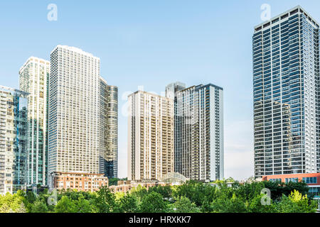 Chicago, USA - May 30, 2016: Downtown residential skyscrapers in Lake Shore East Park - Stock Photo