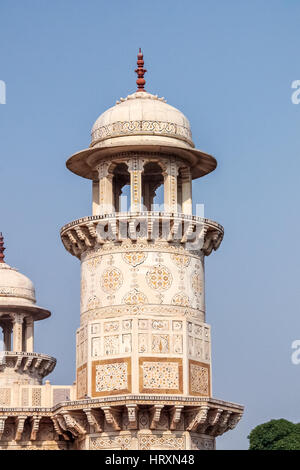 Tower of Itmad-Ud-Daulah's Tomb - Agra, India - Stock Photo