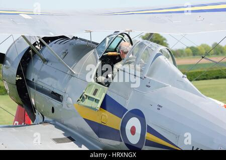 1938 Gloster Gladiator Mk.1, L8032, G-AMRK  wearing the RAF 73 Squadron markings of aircraft K7985 - Shuttleworth - Stock Photo