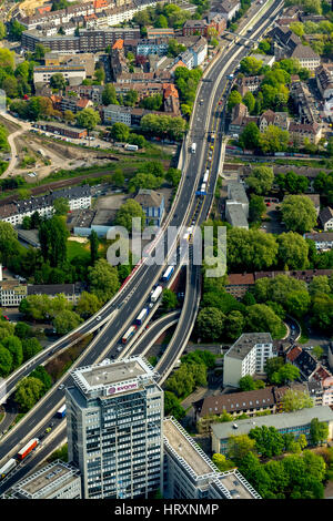 Aerial photo, blocking the A40 in the direction of Bochum and blocking the A52 before entering the A40, city area - Stock Photo
