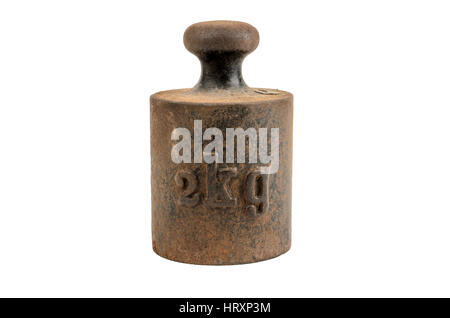 Old and rusty weight on white background - Stock Photo