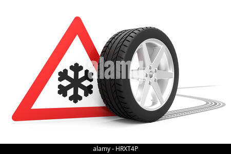 Traffic sign with winter symbol, car tire with track isolated on white background 3D rendering - Stock Photo