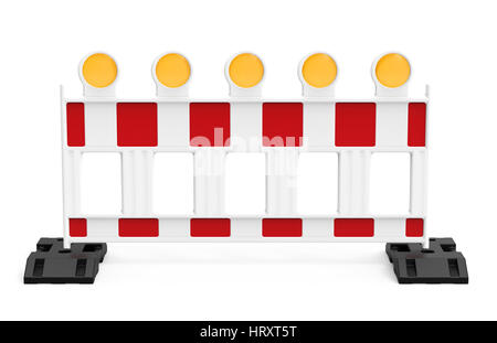 Street barrier, isolated on white background 3D rendering - Stock Photo