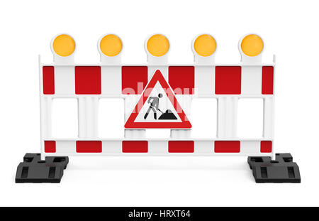 Street barrier with traffic sign, isolated on white background 3D rendering - Stock Photo