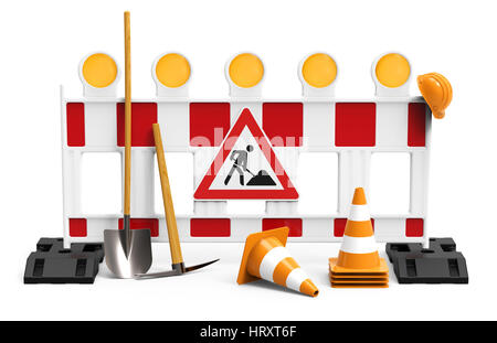 Street barrier with shovel, traffic sign, traffic cone and safety helmet, isolated on white background 3D rendering - Stock Photo