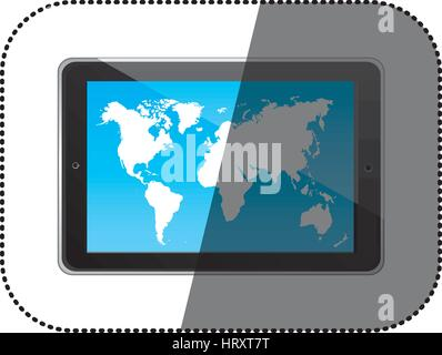 sticker color silhouette tablet in horizontal position and world map wallpaper - Stock Photo