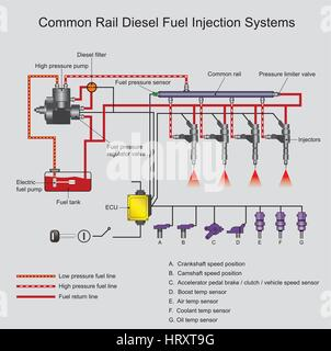Common rail direct fuel injection is a direct fuel injection system for petrol and diesel engines. On diesel engines, - Stock Photo
