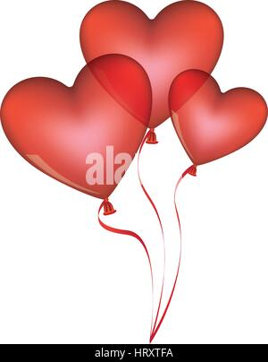 red balloons set in heart shape design - Stock Photo