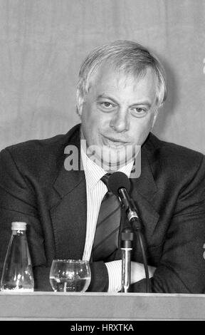 Rt. Hon. Christopher Patten, Chairman of the Conservative party, attends a press conference in London, England on - Stock Photo