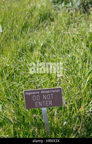 Vegetative Rehabilitation area do not enter sign - Stock Photo