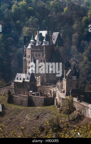 Castle Eltz - one of the most famous and beautiful castles in Germany. - Stock Photo