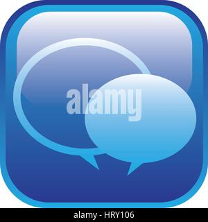 blue square frame with speech bubbles - Stock Photo