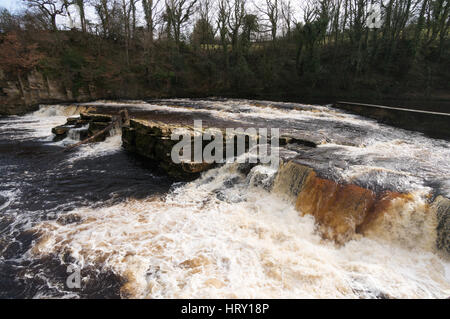 Waterfall on the river Swale at Richmond. North Yorkshire, England, UK - Stock Photo