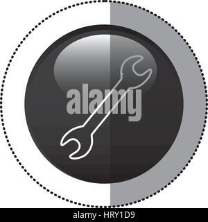 sticker black circular frame with wrench tool icon - Stock Photo