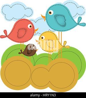 colorful landscape with cartoon birds set