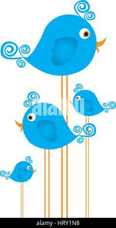 blue cute cartoon birds set with swirl feathers