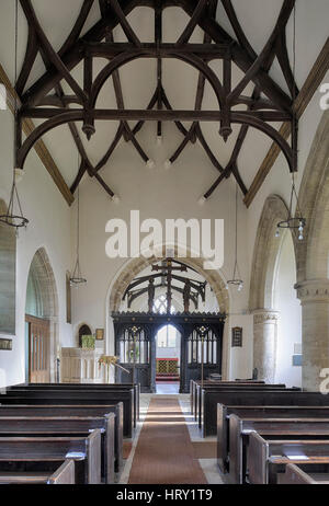 Interior of St. Marys Norman Church, Beverstone, Gloucestershire - Stock Photo