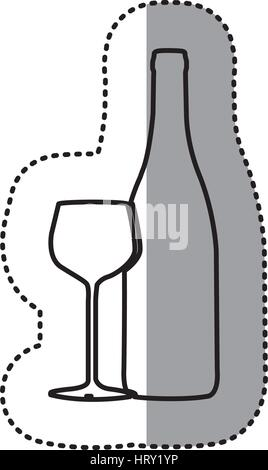 sticker black contour of glass cup and empty bottle - Stock Photo